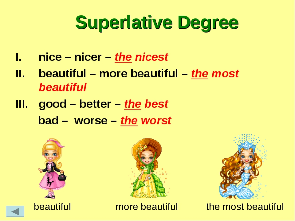 Superlative Degree nice – nicer – the nicest beautiful – more beautiful – the...