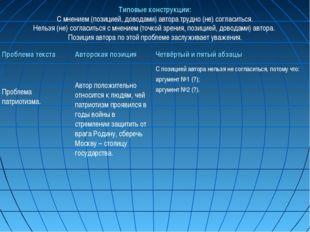 Типовые конструкции: С мнением (позицией, доводами) автора трудно (не) соглас