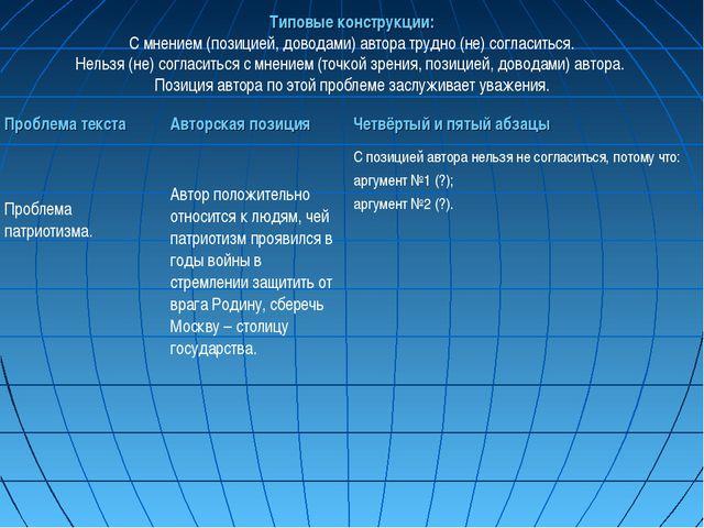 Типовые конструкции: С мнением (позицией, доводами) автора трудно (не) соглас...