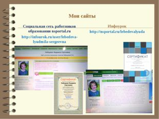 Мои сайты Социальная сеть работников образованияnsportal.ru http://infourok.