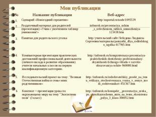 Мои публикации №Название публикацииВеб-адрес 1.Сценарий «Новогодний серпан