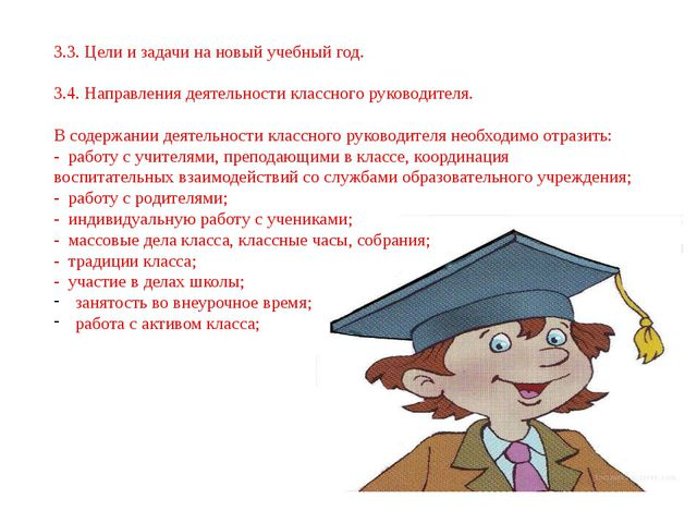 3.3. Цели и задачи на новый учебный год. 3.4. Направления деятельности классн...