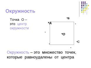 Окружность *О Точка О – это центр окружности Окружность – это множество точек