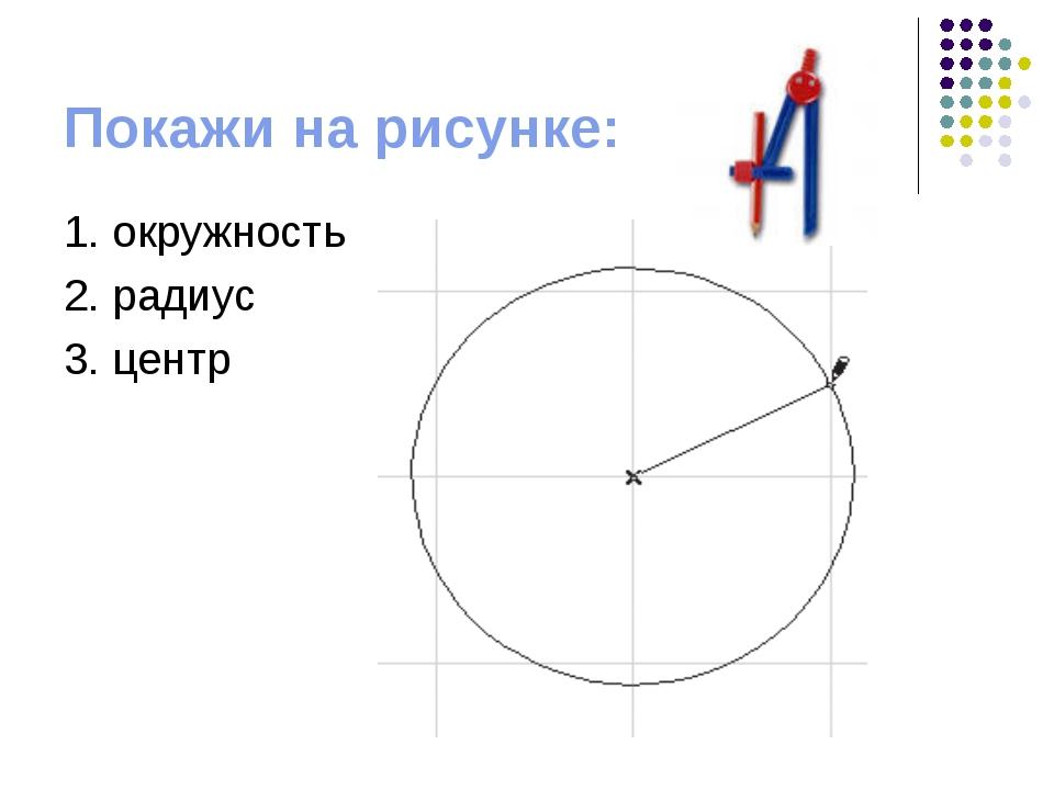 Покажи на рисунке: 1. окружность 2. радиус 3. центр