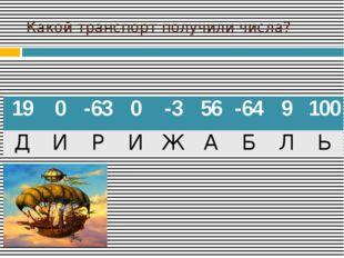 Какой транспорт получили числа? 19 0 -63 0 -3 56 -64 9 100 Д И Р И Ж А Б Л Ь