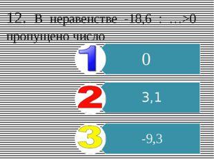 12. В неравенстве -18,6 : …>0 пропущено число