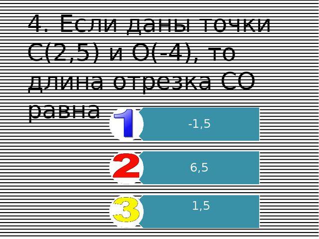4.Если даны точки С(2,5) и О(-4), то длина отрезка СО равна