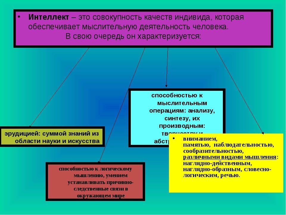 Интеллект– это совокупность качеств индивида, которая обеспечивает мыслитель...