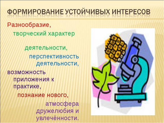 Разнообразие, творческий характер деятельности, перспективность деятельности,...