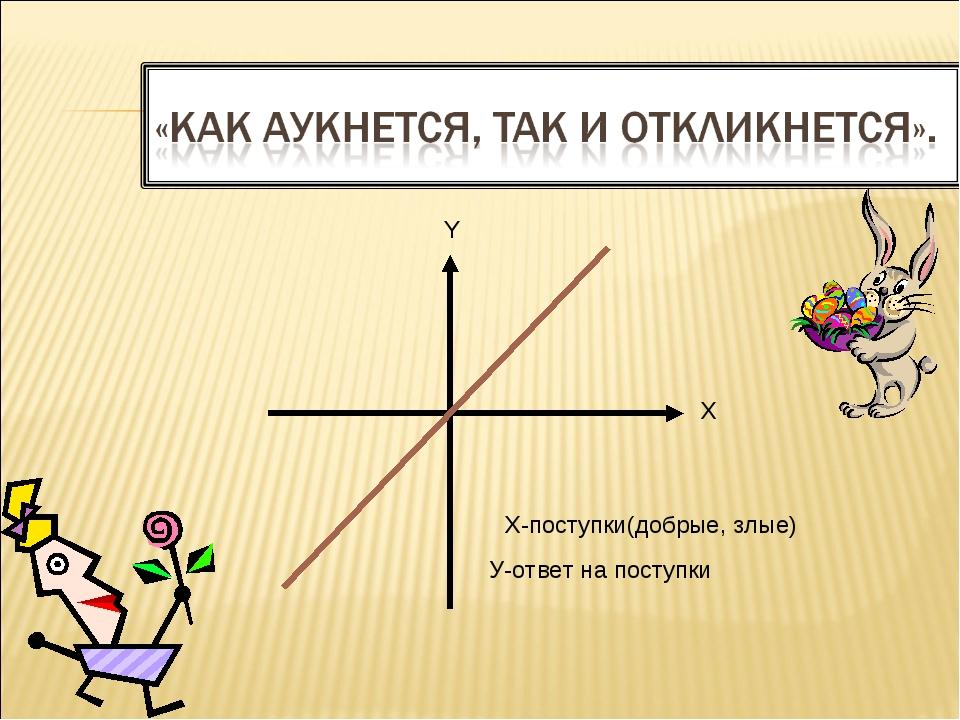 У-ответ на поступки Х-поступки(добрые, злые) X Y