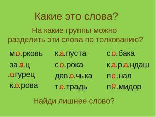 Какие это слова? На какие группы можно разделить эти слова по толкованию? м…р
