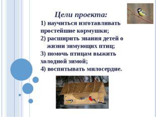 Цели проекта: 1) научиться изготавливать простейшие кормушки; 2) расширить з