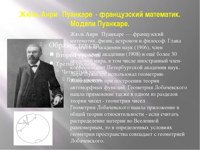 Жюль Анри́ Пуанкаре́- французский математик. Модели Пуанкаре. Жюль Анри́ Пуан...