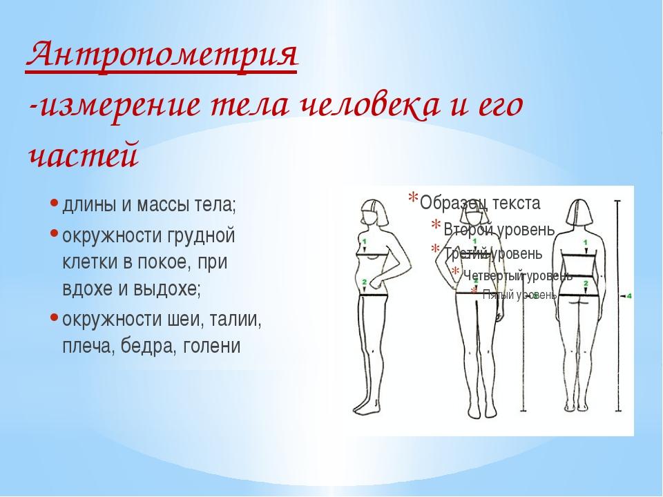 Антропометрия -измерение тела человека и его частей длины и массы тела; окру...