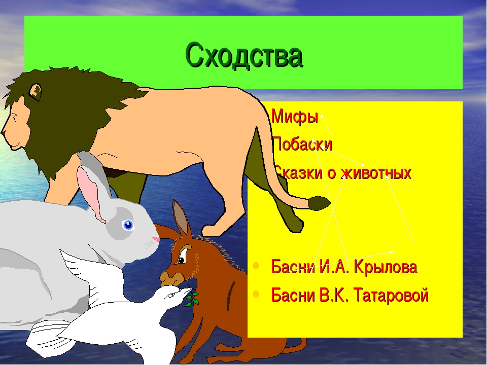 Сходства Мифы Побаски Сказки о животных Басни И.А. Крылова Басни В.К. Татаровой