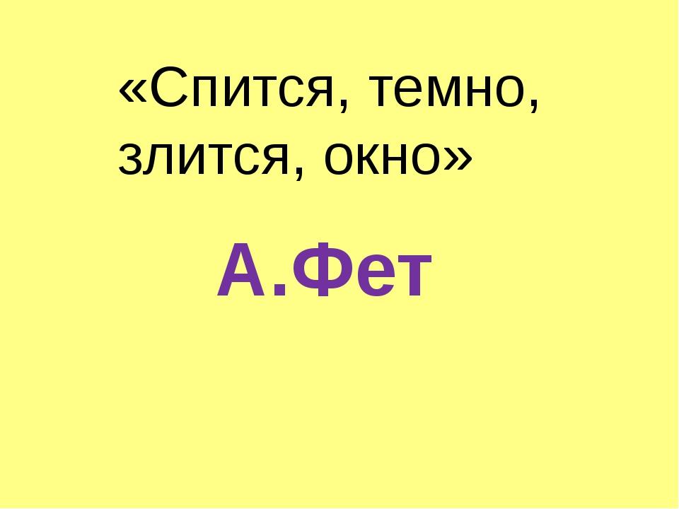 «Спится, темно, злится, окно» А.Фет