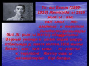 Тоқаш Бокин (1890-1918) Жетісудағы 1916 жылғы қазақ халқының ұлт-азаттық көте