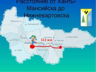 Расстояние от Ханты-Мансийска до Нижневартовска 512 км