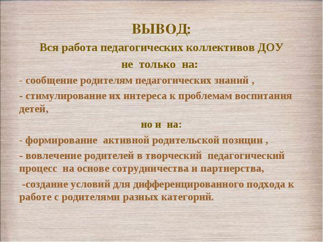 ВЫВОД: Вся работа педагогических коллективов ДОУ не только на: - сообщение ро...