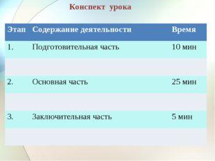 Конспект урока Этап Содержание деятельностиВремя 1.Подготовительная часть