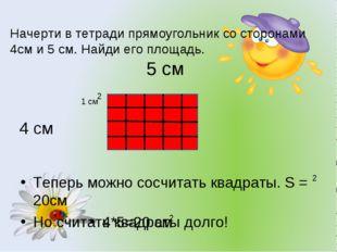Начерти в тетради прямоугольник со сторонами 4см и 5 см. Найди его площадь. Т
