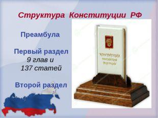 Преамбула Первый раздел 9 глав и 137 статей Второй раздел Структура Конститу