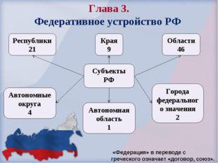 Глава 3. Федеративное устройство РФ Края 9 Республики 21 Области 46 Автономны