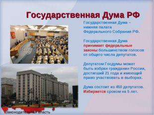 Государственная Дума РФ Законодательная власть Государственная Дума – нижняя