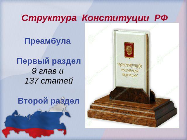 Преамбула Первый раздел 9 глав и 137 статей Второй раздел Структура Конститу...