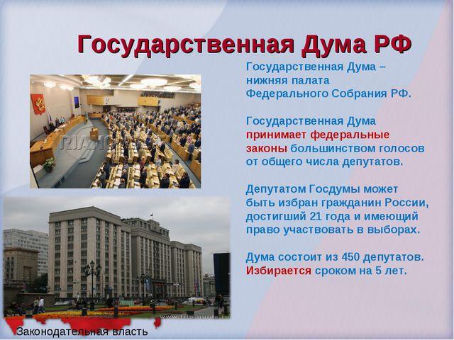 Государственная Дума РФ Законодательная власть Государственная Дума – нижняя...