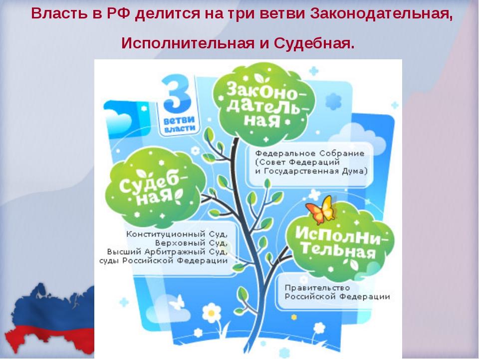 Власть в РФ делится на три ветви Законодательная, Исполнительная и Судебная.