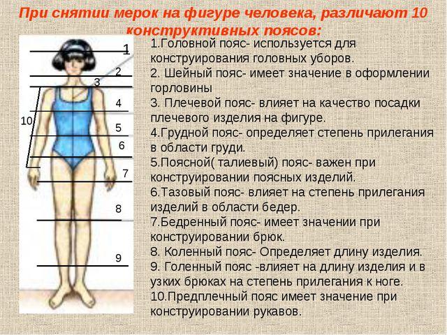 При снятии мерок на фигуре человека, различают 10 конструктивных поясов: 1.Го...