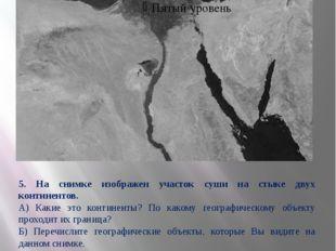 5. На снимке изображен участок суши на стыке двух континентов. А) Какие это