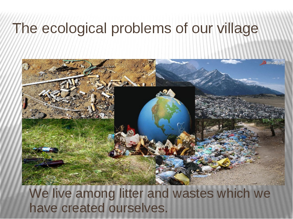 The ecological problems of our village We live among litter and wastes which...