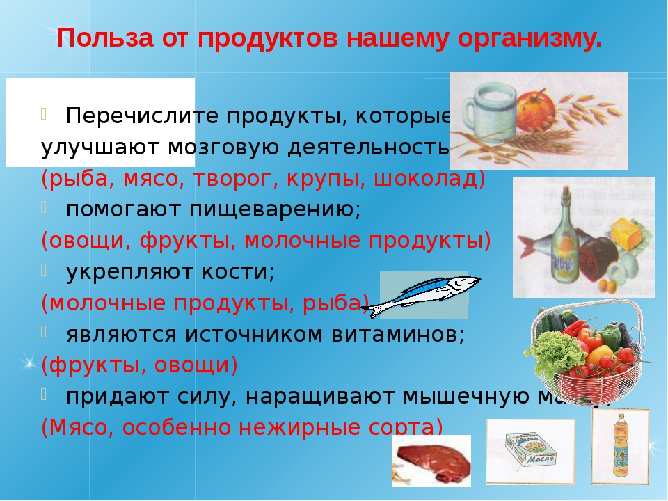 Польза от продуктов нашему организму. Перечислите продукты, которые: улучшают...