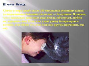 III часть. Вывод. Сейчас в мире живёт около 100 миллионов домашних кошек, но