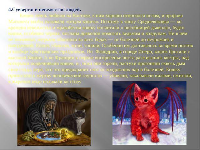 4.Суеверия и невежество людей. Кошек очень любили на Востоке, к ним хорошо от...