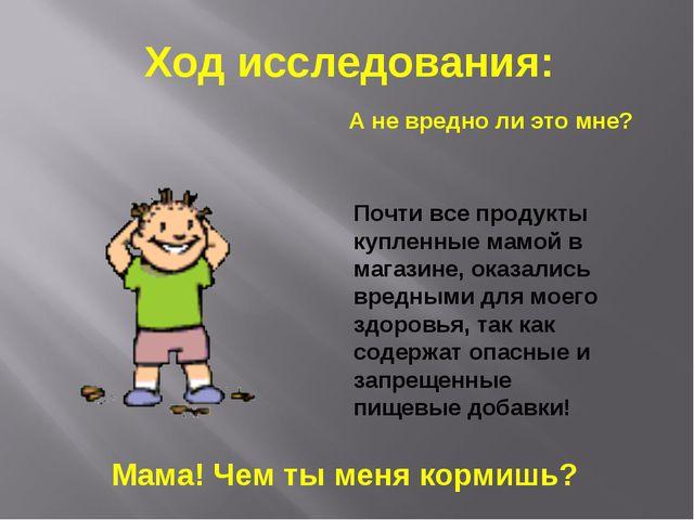 Ход исследования: А не вредно ли это мне? Почти все продукты купленные мамой...