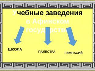 Учебные заведения в Афинском государстве ШКОЛА ПАЛЕСТРА ГИМНАСИЙ