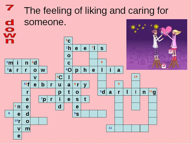 The feeling of liking and caring for someone.