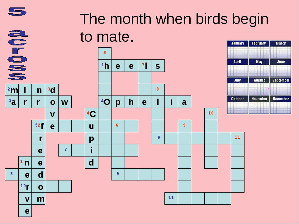 The month when birds begin to mate.