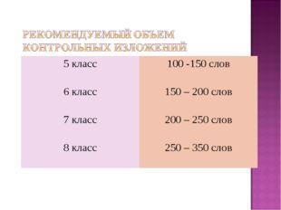 5 класс100 -150 слов 6 класс150 – 200 слов 7 класс200 – 250 слов 8 класс2