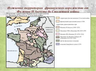 Изменение территории французского королевства от Филиппа II Августа до Столет
