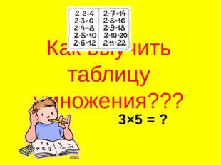 Как выучить таблицу умножения??? 3×5 = ?