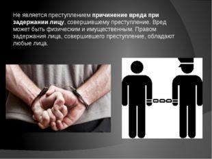 Не является преступлением причинение вреда при задержании лицу, совершившему