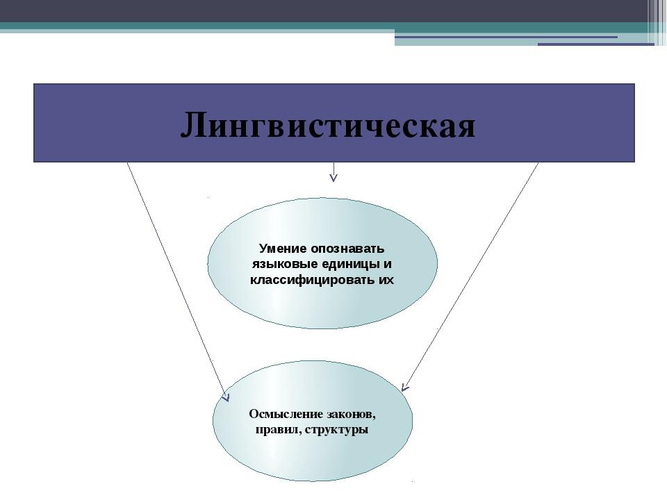 Лингвистическая Умение опознавать языковые единицы и классифицировать их Осмы...