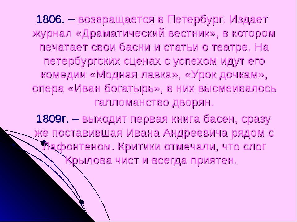 1806. – возвращается в Петербург. Издает журнал «Драматический вестник», в к...