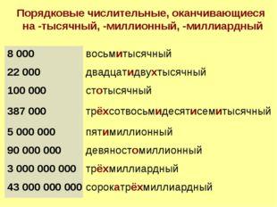Порядковые числительные, оканчивающиеся на -тысячный, -миллионный, -миллиардн