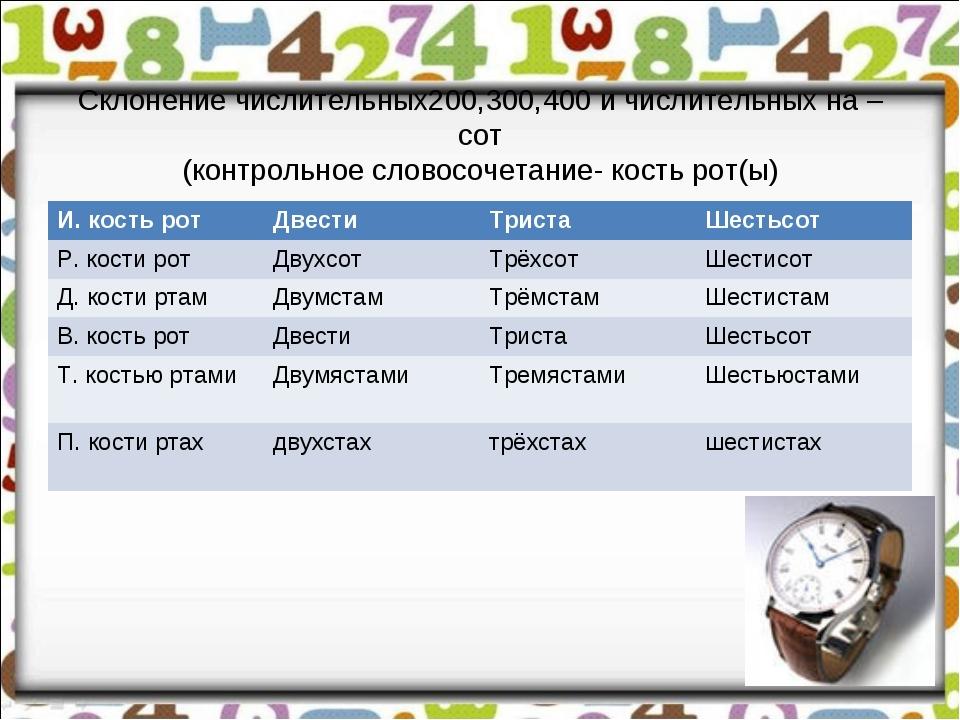 Склонение числительных200,300,400 и числительных на –сот (контрольное словосо...