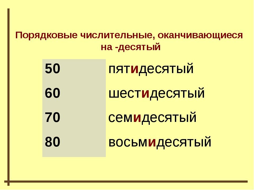 Порядковые числительные, оканчивающиеся на -десятый 50пятидесятый 60шестиде...
